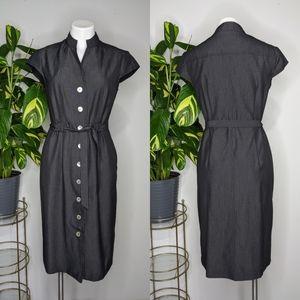 Dressbarn charcoal grey button up dress 8
